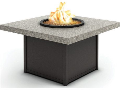 Homecrest Shadow Rock Fire Aluminum 42'' Wide Square Chat Firepit Table with Aurora Base