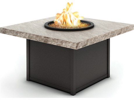 Homecrest Slate Fire Aluminum 42'' Wide Square Chat Fire Pit Table with Aurora Base