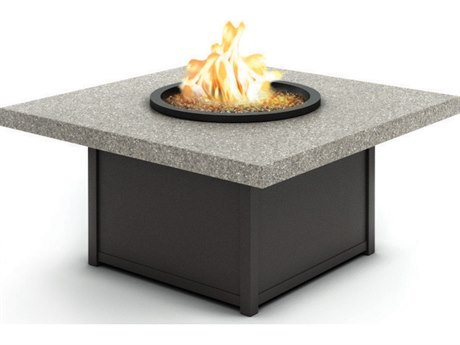 Homecrest Shadow Rock Fire Aluminum 42'' Wide Square Coffee Firepit Table with Aurora Base