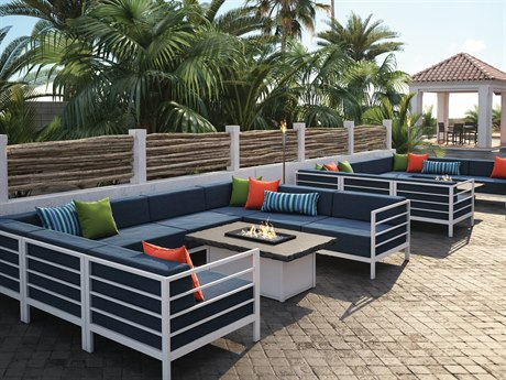 Homecrest Allure Modular Aluminum Firepit Lounge Set