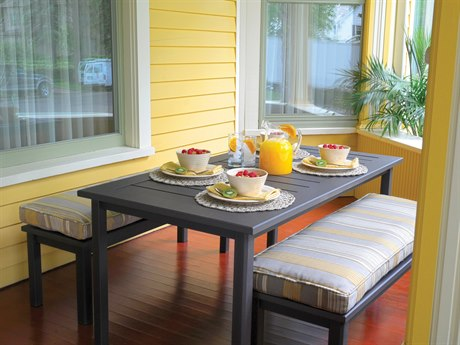 Homecrest Dockside Aluminum Cushion Bench Dining Set