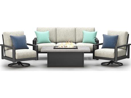 Homecrest Elements Cushion Aluminum Firepit Lounge Set