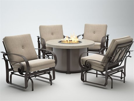 Homecrest Emory Cushion Aluminum Fire Pit Lounge Set