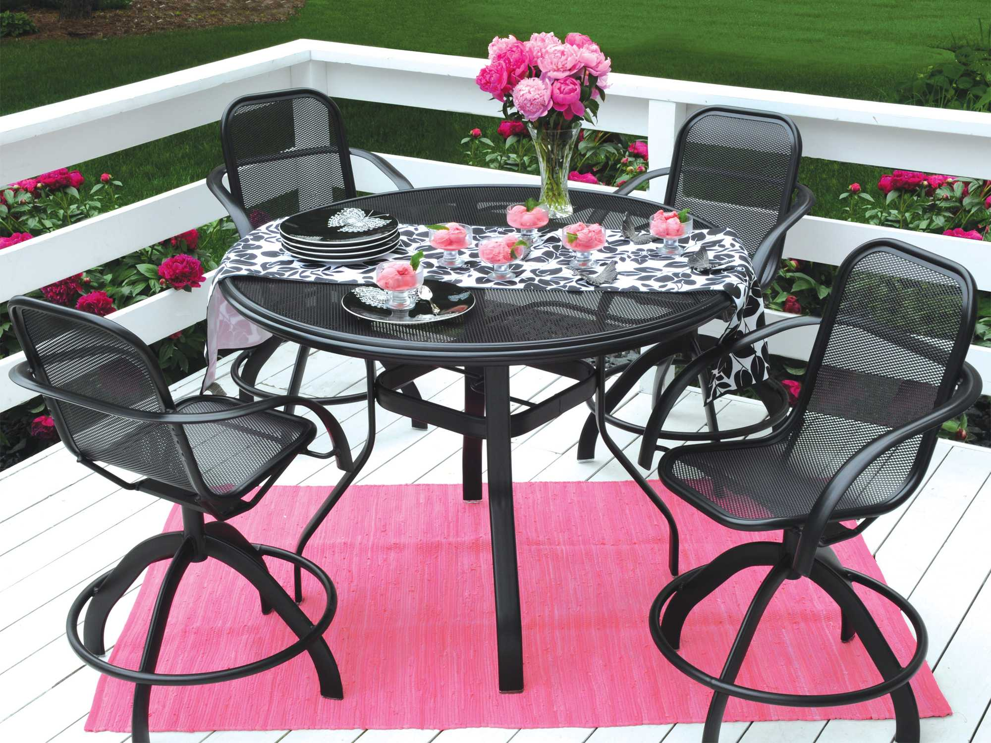 Homecrest Florida Mesh Counter Metal Aluminum Dining Set HCFLRMDS