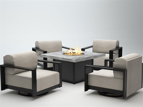 Homecrest Grace Cushion Aluminum Fire Pit Lounge Set