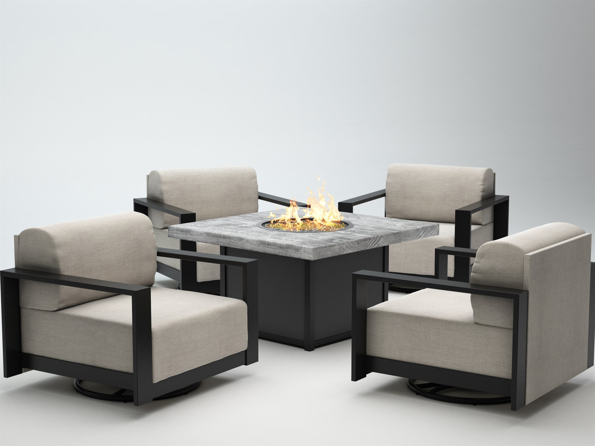 Homecrest Grace Cushion Aluminum Fire Pit Lounge Set ...