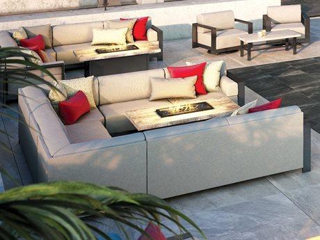 Homecrest Grace Modular Aluminum Sectional Fire Pit Lounge Set PatioLiving