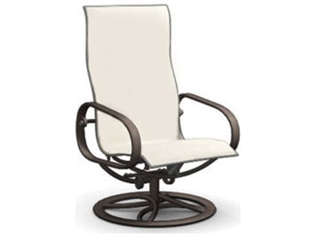 Homecrest Holly Hill Sling Aluminum Arm Swivel Rocker Dining Chair