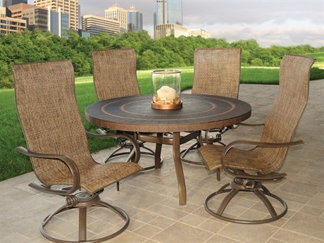 Homecrest Holly Hills Sling Aluminum Chair Dining Set for 4 PatioLiving
