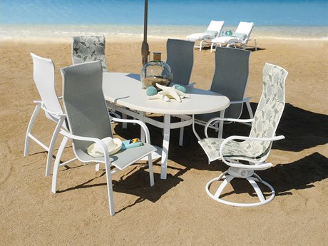 Homecrest Holly Hills Sling Aluminum Dining Set for 6 with Swivel Rocker Chair