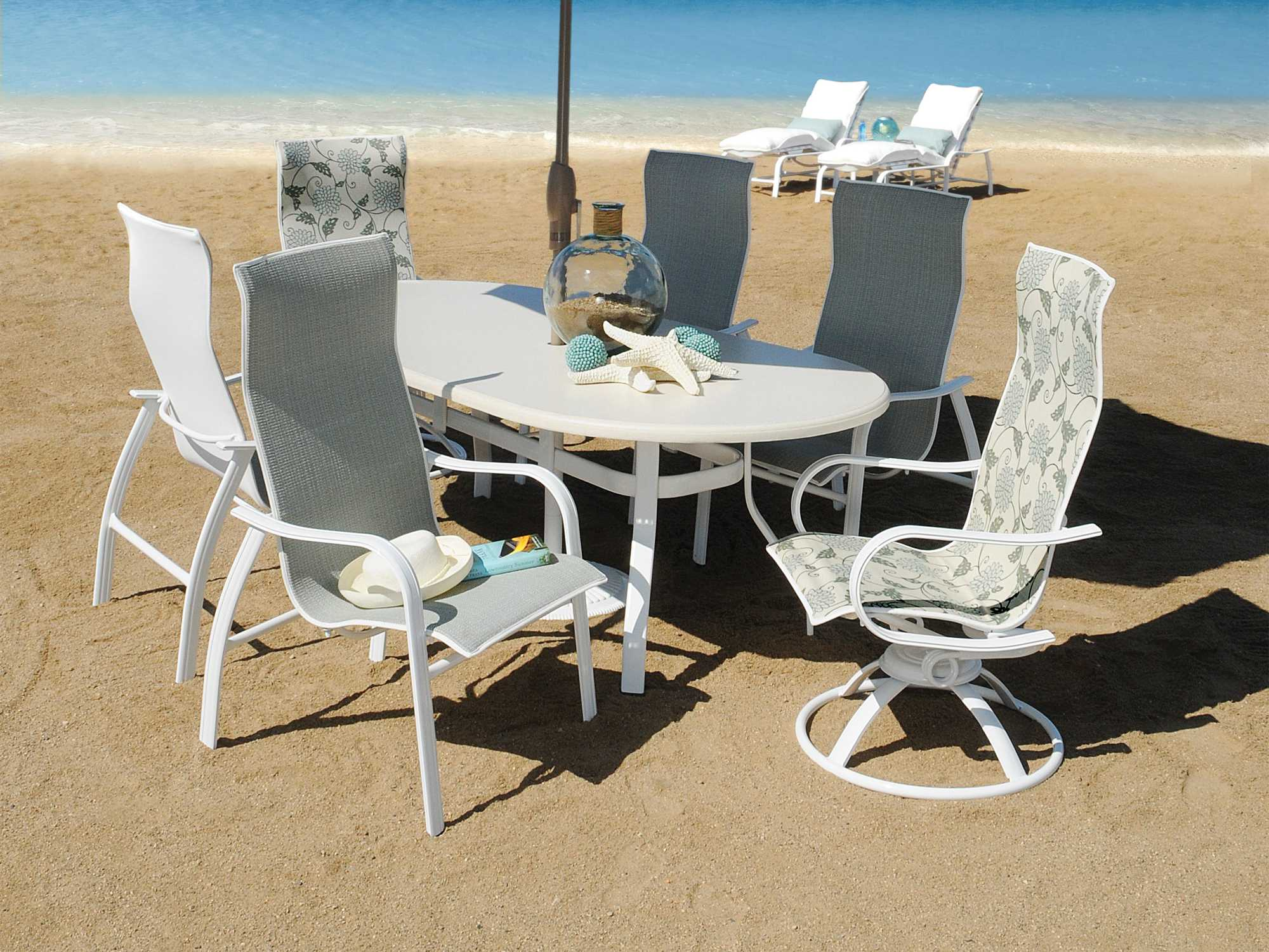 Homecrest Holly Hills Sling Aluminum Dining Set For 6 With