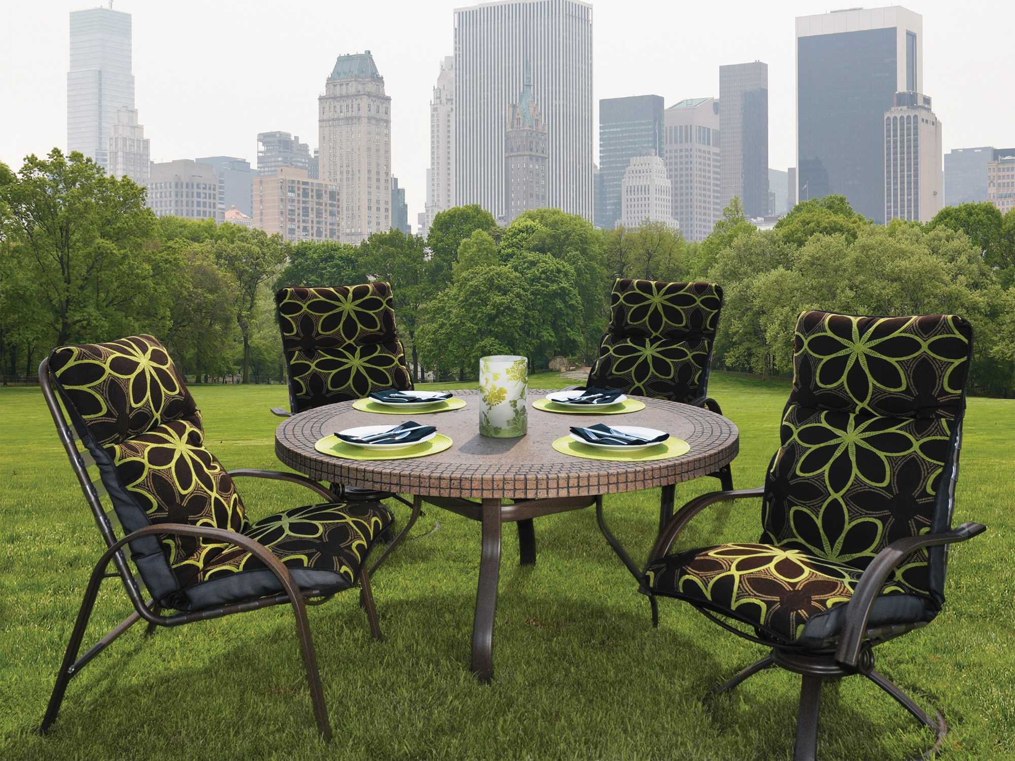 Homecrest slate aluminum 42 round dining table with for Homecrest outdoor furniture