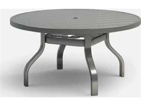 Homecrest Breeze Quick Ship Aluminum 42 Round Chat Table with Umbrella Hole