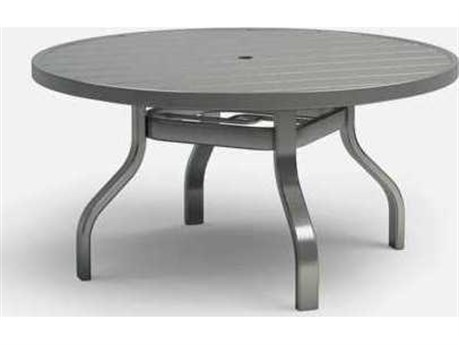 Homecrest Breeze Quickship Aluminum 54 Round Dining Table with Umbrella Hole