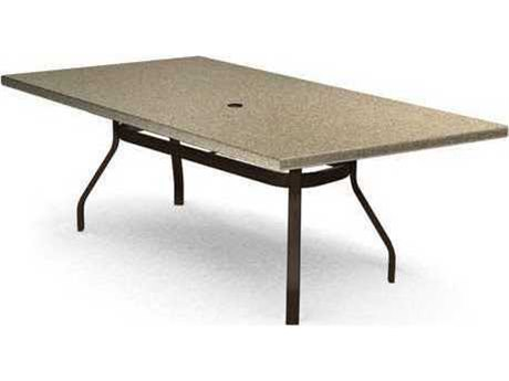 Homecrest Stonegate Quickship Aluminum 62 x 42 Rectangular Dining Table with Umbrella Hole