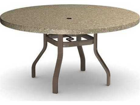 Homecrest Stonegate Quick Ship Aluminum 54 Round  Dining Table with Umbrella Hole