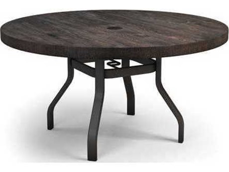 Homecrest Timber Quick Ship Aluminum 54 Round Dining Table with Umbrella Hole