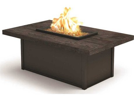 Homecrest Quick Ship Timber Aluminum 52''W x 32''D Rectangular Coffee Fire Pit Table