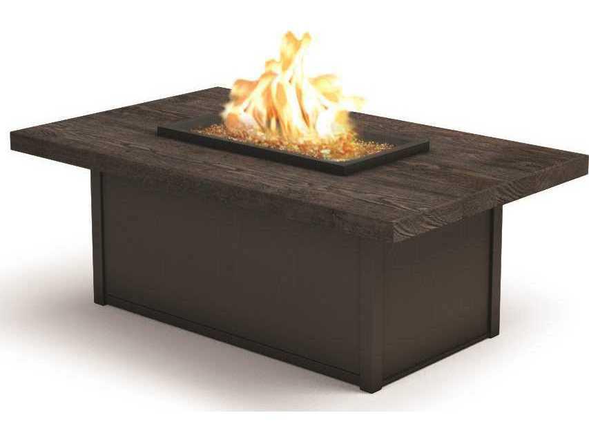 Homecrest quick ship timber 52 x 32 rectangular coffee for Rectangular stone fire pit