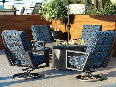 Homecrest Sutton Cushion Aluminum Fire Pit Lounge Set