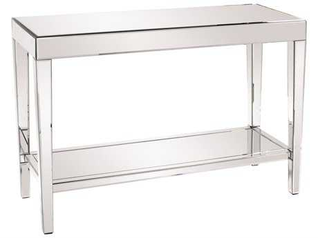 Howard Elliott Orion 44 x 15 White Mirrored Console Table with Shelf