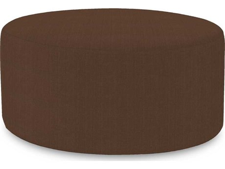 Howard Elliott Universal 36 Round Sterling Chocolate Ottoman