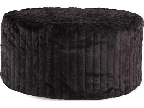 Howard Elliott Mink Black Universal 36'' Round Ottoman