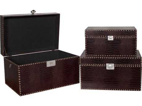 Howard Elliott Crocodile 27 x 17 Brown Decorative Box