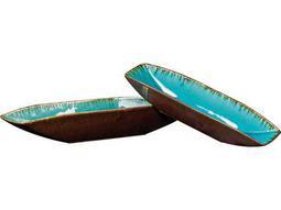 Howard Elliott Sea Blue with Pewter Bottoms Ceramic Trays