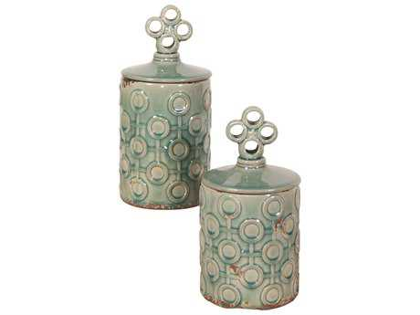 Howard Elliott Sea Blue with Rustic Accents Textured Ceramic Jars with Lids (Set of 2)