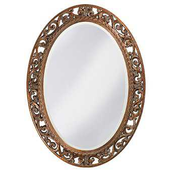 Howard Elliott Suzanne 27 x 37 Antique Gold Oval Wall Mirror