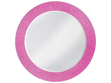Howard Elliott Bergman 54 Round Large Glossy Hot Pink Wall Mirror