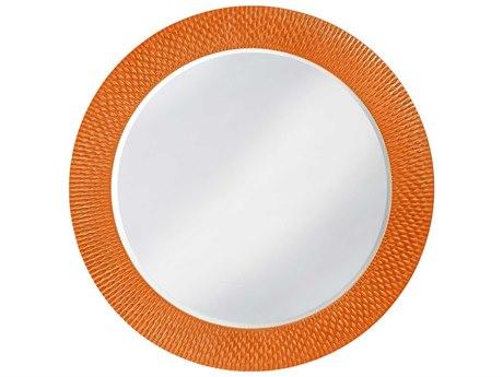 Howard Elliott Bergman 54 Round Large Glossy Orange Wall Mirror
