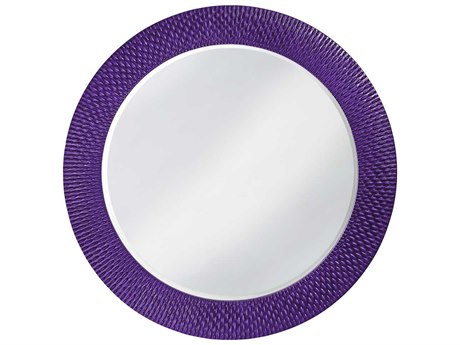 Howard Elliott Bergman 54 Round Large Glossy Royal Purple Wall Mirror