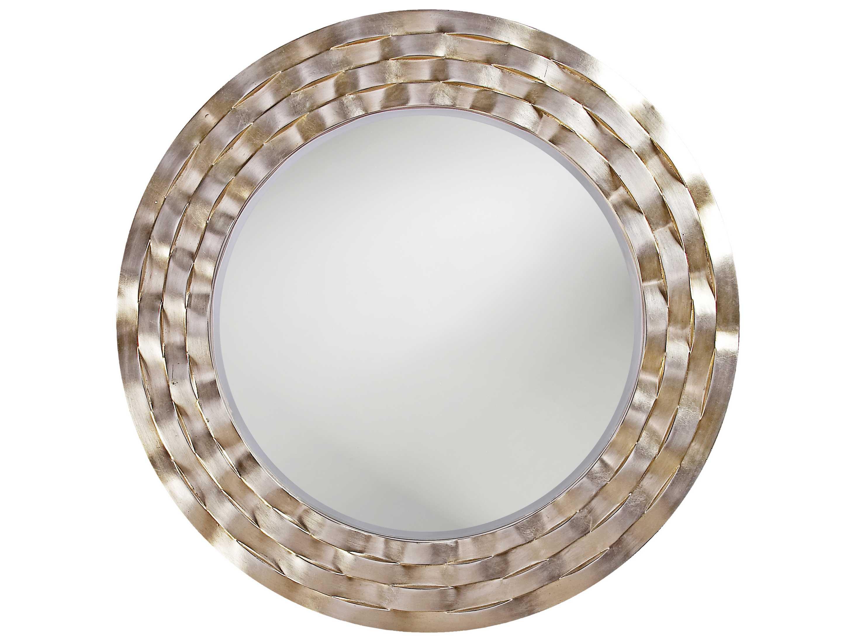 Howard elliott cartier 46 round silver wall mirror he2140 for Round silver wall mirror