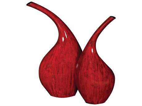 Howard Elliott Scarlet Red Ceramic Vases with Brushed Black Accents (Set of 2)