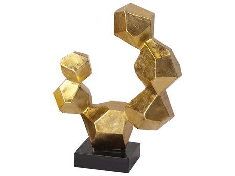 Howard Elliott Gold Leaf Geometric Small Sculpture on Black Base