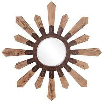 Howard Elliott Pointe 51 Round Brown Wall Mirror