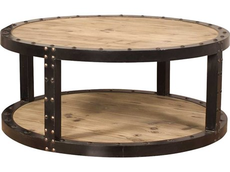 Howard Elliott Rustic Wood 42.5'' Round Aged Wood Black Iron Coffee Table