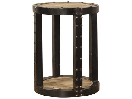 Howard Elliott Rustic Wood 20.25'' Round Aged Wood Black Iron Side Table