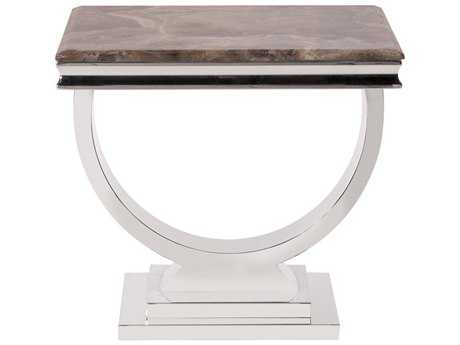Howard Elliott Stainless Steel And Stone 24.5'' Side Table