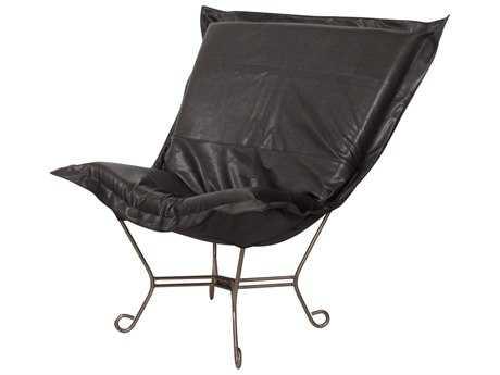 Howard Elliott Avanti Black Scroll Puff Chair - Titanium Frame