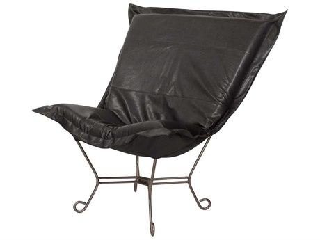 Howard Elliott Avanti Black Scroll Puff Chair - Titanium Frame
