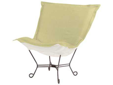 Howard Elliott Sterling Willow Scroll Puff Chair - Titanium Frame