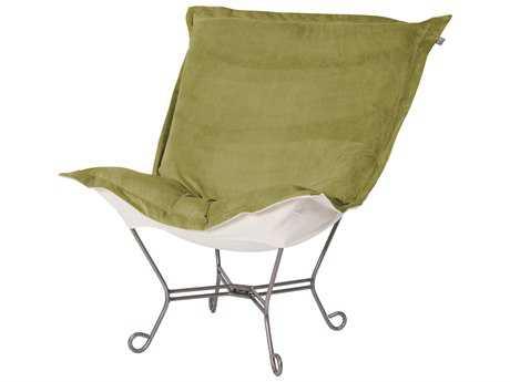 Howard Elliott Bella Moss Puff Scroll Chair - Titanium Frame