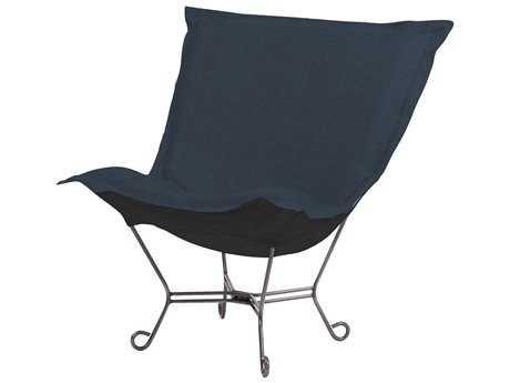 Howard Elliott Sterling Indigo Scroll Puff Chair - Titanium Frame