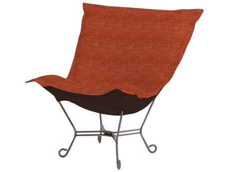 Howard Elliott Coco Coral Scroll Puff Chair - Titanium Frame