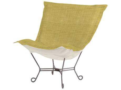 Howard Elliott Coco Peridot Scroll Puff Chair - Titanium Frame