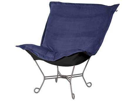 Howard Elliott Bella Royal/Black Puff Scroll Chair - Titanium Frame