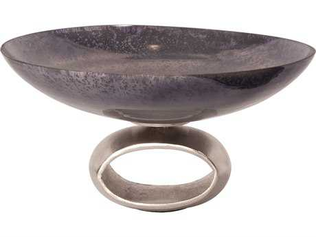 Howard Elliott Blue-Gray Antiqued Glass 8.25 x 16 Gray Decorative Bowl